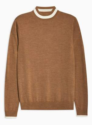 Topman Mens Brown Toffee Merino Tipped Turtle Neck Sweater