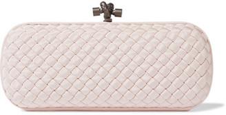 Bottega Veneta - The Knot Intrecciato Faille Clutch - Pastel pink $1,750 thestylecure.com