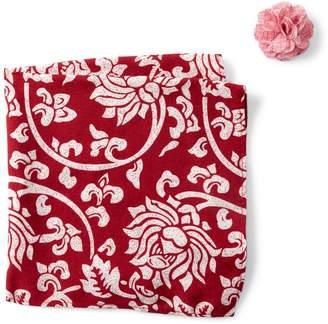 Original Penguin Berger Floral Pocket Square & Lapel Pin Set