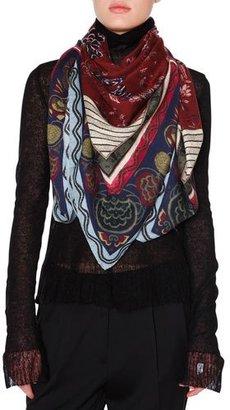 Etro Bombay Silk & Cashmere Printed Square Shawl, Bordeaux/Blue $790 thestylecure.com