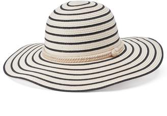 Chaps Women's Striped Floppy Hat with Sailor Knot