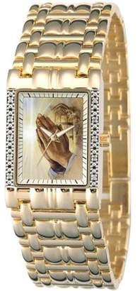 Generic Men's Praying Hands Square Diamond Bracelet Watch, Gold