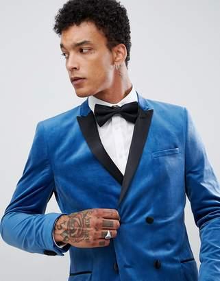 Asos DESIGN Skinny Double Breasted Blazer In Blue Velvet