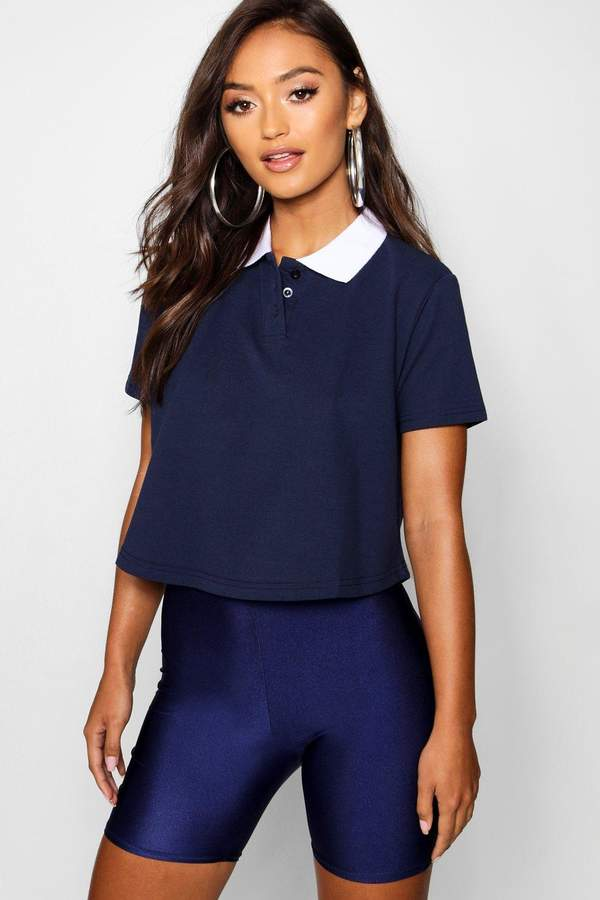 boohoo Petite Crop Polo Shirt