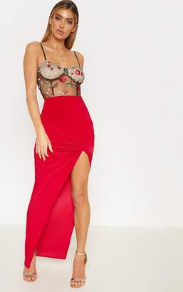 PrettyLittleThing Deep Red Slinky Knot Front Detail Maxi Skirt