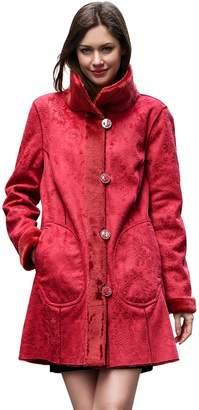 Lush Adelaqueen Women's Faux Suede Faux Fur Coat Floral Print Reversible Coat Size XL