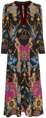 Etro tie neck floral print crepe dress
