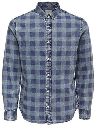 ONLY & SONS Washed Checked Denim Sport Shirt