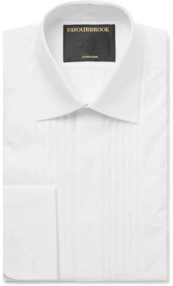 Favourbrook White Cutaway-Collar Double-Cuff Cotton Tuxedo Shirt