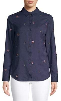 Dorothy Perkins Embroidered Cotton & Linen Button-Down Shirt