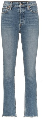 RE/DONE Mid blue double needle long straight leg jeans