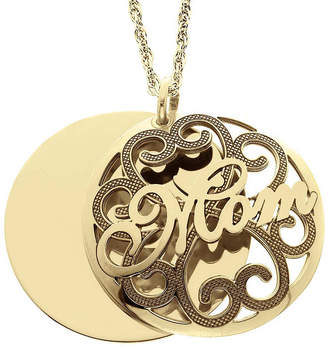 JCPenney FINE JEWELRY Personalized 14K Gold Over Silver Domed Mom and Family Name Pendant Necklace
