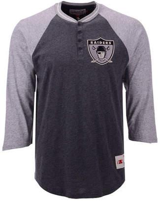 Mitchell & Ness Men Oakland Raiders Four Button Henley T-Shirt