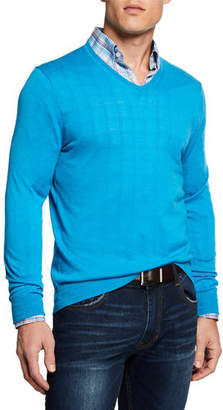 Neiman Marcus Men's Cashmere/Silk V-Neck Sweater