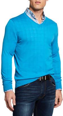 Neiman Marcus Men's Cashmere/Silk V-Neck Sweater