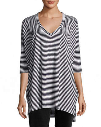 65b89b0e1c6 Eileen Fisher Plus Size Striped Organic Linen Jersey V-Neck Tunic