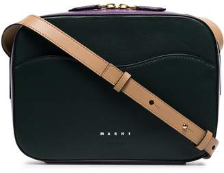 Marni green and purple Shell large leather cross-body bag