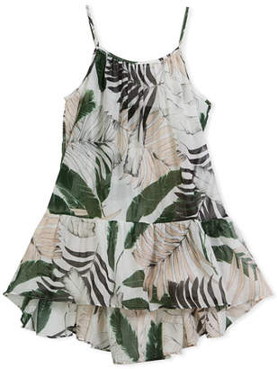 Milly Minis Palm Tree-Print High-Low Coverup Dress, Size 8-14