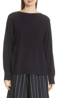 Vince Layered Back Wool Cashmere Boatneck Sweater