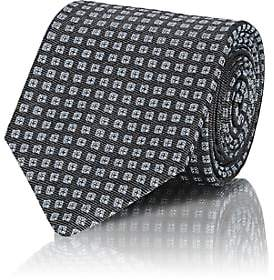 Isaia MEN'S SQUARE-DOT SILK JACQUARD NECKTIE-GRAY