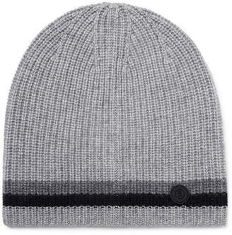 Bogner Matteo Striped Ribbed Cashmere Beanie