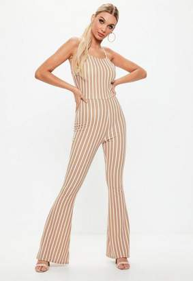 Missguided Camel Stripe Flare Leg Romper