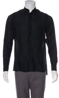 Saint Laurent Lace-Trimmed Button-Up Shirt