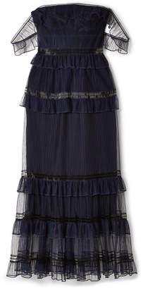 Jonathan Simkhai Off-the-shoulder Ruffled Tulle Midi Dress - Midnight blue