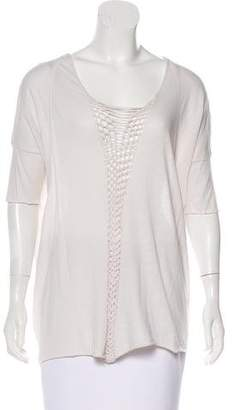 Raquel Allegra Distressed Lace-Up Top