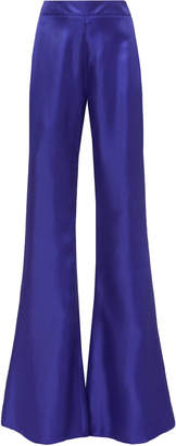Brandon Maxwell High-Rise Silk Flare Pants