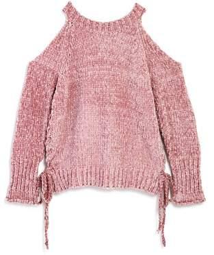 Vintage Havana Girls' Chenille Cold-Shoulder Sweater - Big Kid