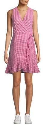 Rails Madison Sleeveless Check Flounce Wrap Dress