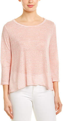 Three Dots Mojave Stripe Linen-Blend Top