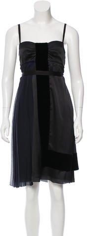 pradaPrada Velvet-Accented Silk Dress