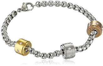 Ladies Stainless Steel Tricolor Charm Bracelet with Crystals with 18kt Gold Plating