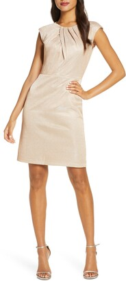 Donna Ricco Metallic Knit Cap Sleeve Dress