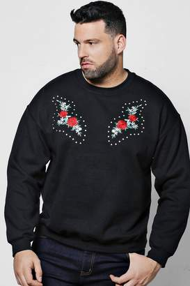 boohoo Big And Tall Twin Embroidered Studded Sweater