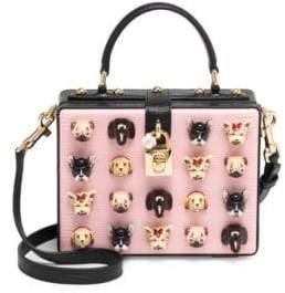 Dolce & Gabbana Dog Embellished Leather Box Bag