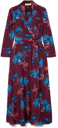 Diane von Furstenberg Floral-print Cotton And Silk-blend Wrap Dress - Grape