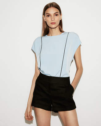 Express Petite Piped Zip Back Crew Neck Blouse