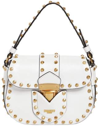Moschino Lock Studded Shiny Leather Shoulder Bag