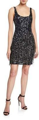 Parker Black Reena Beaded Scoop-Neck Sleeveless Mini Dress with Fringe Trim