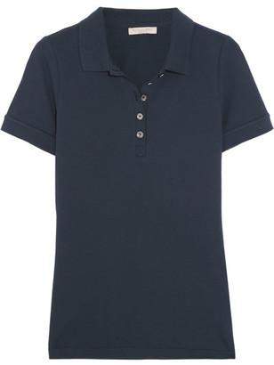 Burberry - Stretch-cotton Piqué Polo Shirt - Midnight blue $195 thestylecure.com
