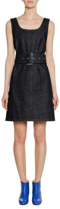 Marni Square-Neck Sleeveless Belted A-Line Denim Dress