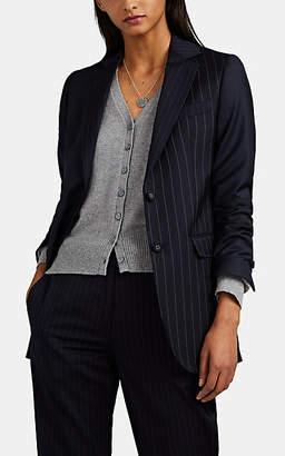 Officine Generale Women's W375 Mixed-Pinstriped Wool Twill Jacket - Navy