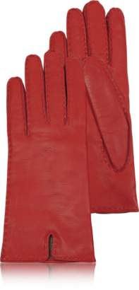 Forzieri Women's Cashmere Lined Red Italian Leather Gloves