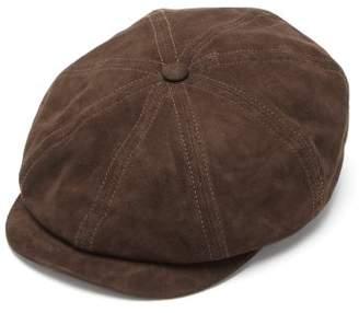 Lock & Co Hatters Tremelo Goatskin Leather Flat Cap - Mens - Brown