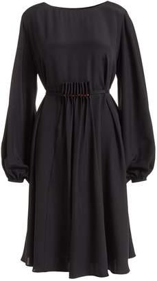 WtR - Katsina Black Long Sleeve Knee Length Silk Dress