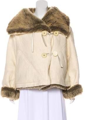Issey Miyake Wool Faux Fur-Trimmed Jacket