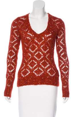 Dolce & Gabbana Open Knit Scoop Neck Sweater